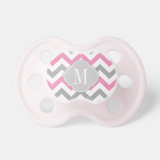 Monogrammed Pink and Gray Chevron Pacifiers