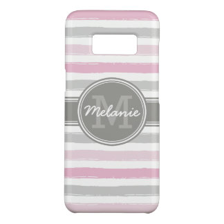 Monogrammed Pink and Gray Paint Stripes Case-Mate Samsung Galaxy S8 Case
