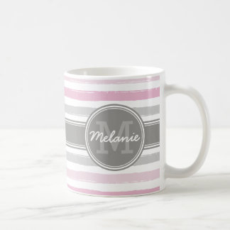 Monogrammed Pink and Gray Paint Stripes Pattern Coffee Mug