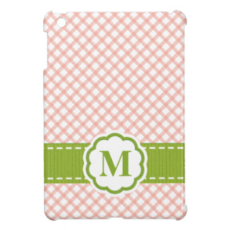 Monogrammed Pink and Green Gingham iPad Mini Case