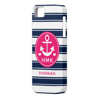 MONOGRAMMED PINK AND NAVY ANCHOR CASE FOR THE iPhone 5