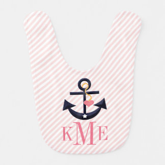MONOGRAMMED PINK AND NAVY ANCHOR HEART BIB