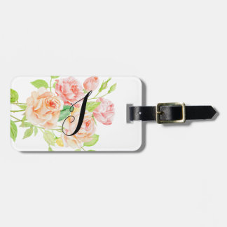 Monogrammed Pink and Peach Roses Luggage Tag