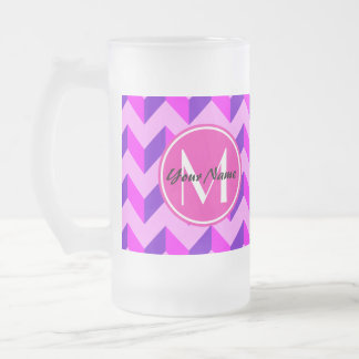Monogrammed Pink and Purple Chevron Patchwork 16 Oz Frosted Glass Beer Mug
