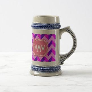 Monogrammed Pink and Purple Chevron Patchwork 18 Oz Beer Stein