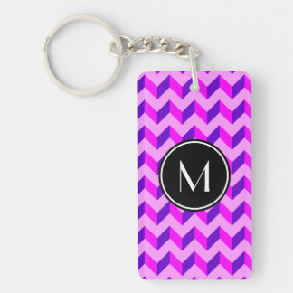 Monogrammed Pink and Purple Chevron Patchwork Double-Sided Rectangular Acrylic Keychain
