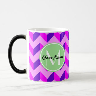 Monogrammed Pink and Purple Chevron Patchwork Magic Mug