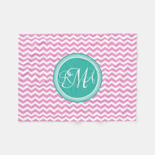 Monogrammed Pink and Teal Chevron Custom Fleece Blanket