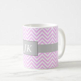 Monogrammed Pink and White Chevron Striped Mug