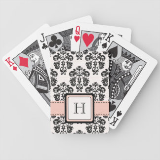 Monogrammed Pink Black Damask Bicycle® Playing Car Bicycle Playing Cards