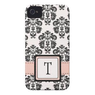 Monogrammed Pink Black Damask iPhone 4 Case Cover
