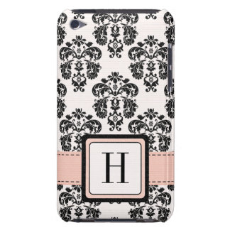 Monogrammed Pink Black Damask iPod Touch 4 Case-Ma Barely There iPod Cases