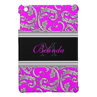 Monogrammed pink black floral pattern case for the iPad mini