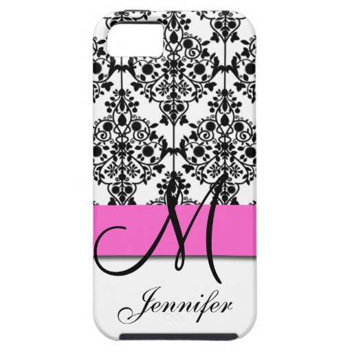 Monogrammed Pink Black White Floral Damask iPhone 5 Cases