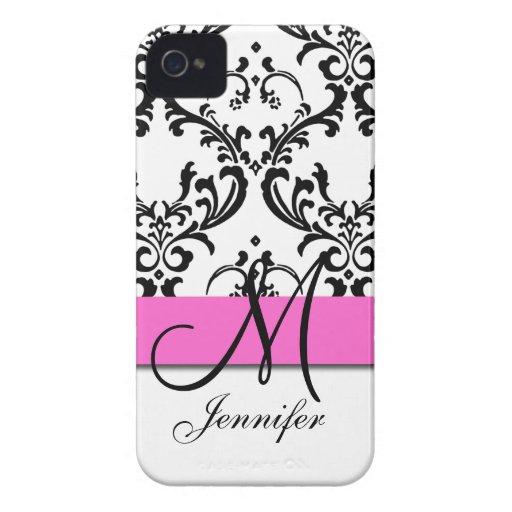 Monogrammed Pink Black White Swirls Damask Blackberry Bold Case