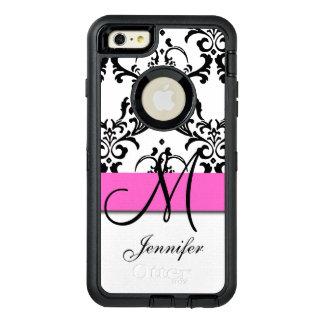 Monogrammed Pink Black White Swirls Damask OtterBox Defender iPhone Case
