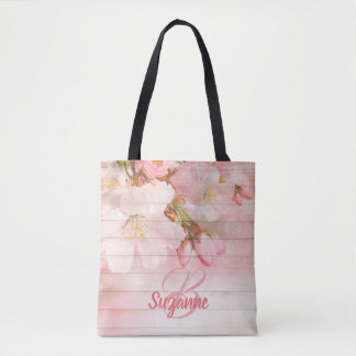 Monogrammed pink cherry blossoms girly pastel tote bag