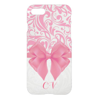 Monogrammed Pink Damask and Pink Ribbon iPhone 8/7 Case