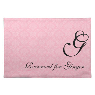 Monogrammed Pink Damask for Dogs Place Mat