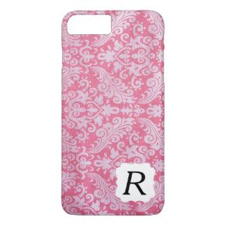 Monogrammed Pink Damask Phone Case