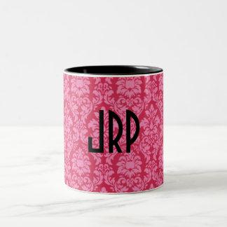 Monogrammed Pink Damask Two-Tone Coffee Mug