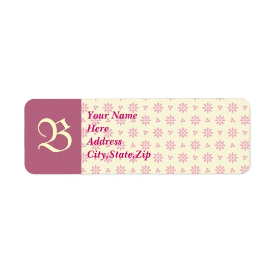 Monogrammed Pink Eyelet Address Label