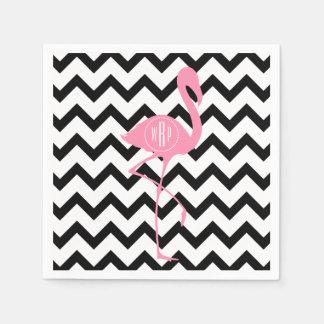 Monogrammed Pink Flamingo + Black Chevron Paper Napkin