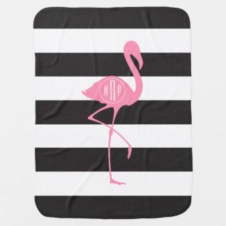 Monogrammed Pink Flamingo + Black + White Stripes Baby Blanket