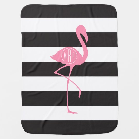 Monogrammed Pink Flamingo + Black + White Stripes Receiving Blankets