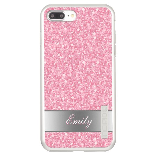 Monogrammed Pink Glitter Silver Accents Incipio DualPro Shine iPhone 7 Plus Case