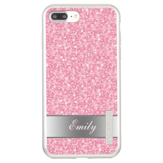 Monogrammed Pink Glitter Silver Accents Incipio DualPro Shine iPhone 8 Plus/7 Plus Case