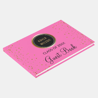 Monogrammed   Pink Gold Confetti Graduation Party Guest Book
