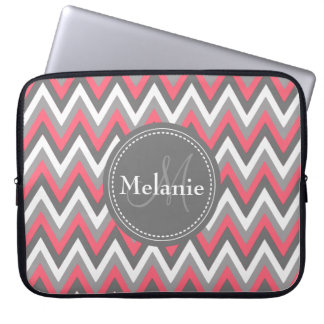 Monogrammed Pink & Grey Chevron Pattern Laptop Computer Sleeves