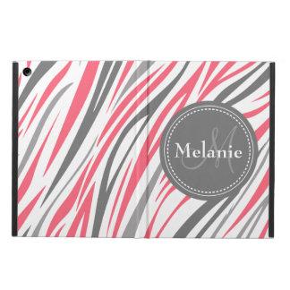 Monogrammed Pink & Grey Zebra Pattern iPad Air Cover