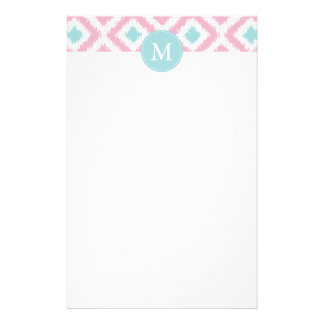 Monogrammed Pink Mint Diamonds Ikat Pattern Stationery