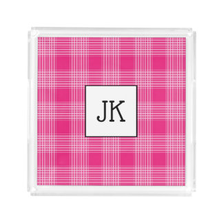 Monogrammed Pink Plaid Serving Tray