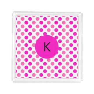 Monogrammed Pink Polka Dots Acrylic Tray