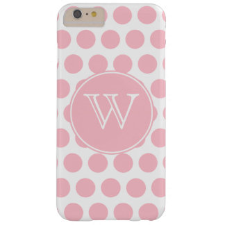 Monogrammed Pink Polka Dots Barely There iPhone 6 Plus Case