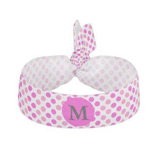 Monogrammed Pink Polka Dots Hair Tie