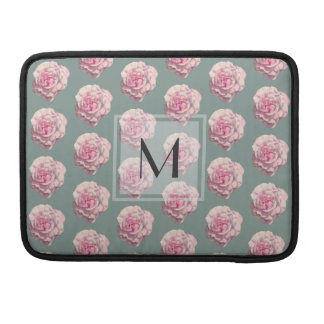 Monogrammed Pink Rose Watercolor Illustration Sleeve For MacBook Pro
