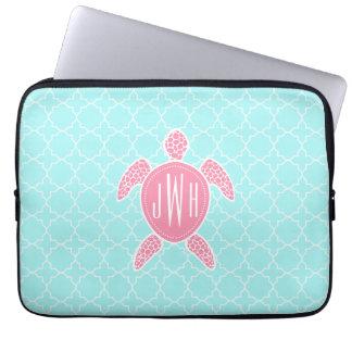 Monogrammed Pink Sea Turtle + Blue Quatrefoil Computer Sleeve