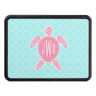 Monogrammed Pink Sea Turtle + Blue Quatrefoil Hitch Cover