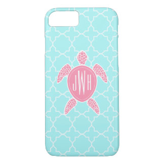 Monogrammed Pink Sea Turtle + Blue Quatrefoil iPhone 7 Case