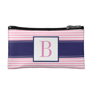 Monogrammed Pink Striped Cosmetic Bag