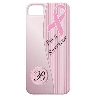 Monogrammed Pink Stripes Survivor Cover For iPhone 5/5S
