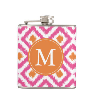 Monogrammed Pink Tangerine Diamonds Ikat Pattern Hip Flask