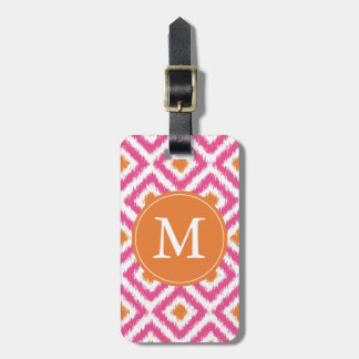 Monogrammed Pink Tangerine Diamonds Ikat Pattern Luggage Tag