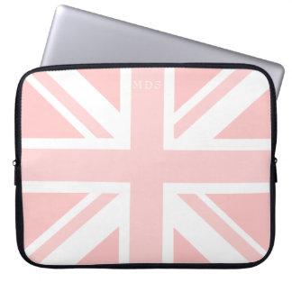 Monogrammed Pink Union Jack UK Flag Laptop Sleeve
