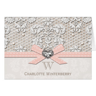 Monogrammed Pink Vintage Antique Lace Note Cards