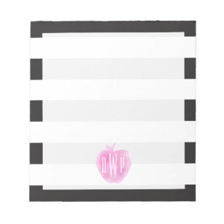 Monogrammed Pink Watercolor Apple + Stripes Notepad
